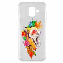 Чехол для Samsung A6 2018 Fox in autumn leaves