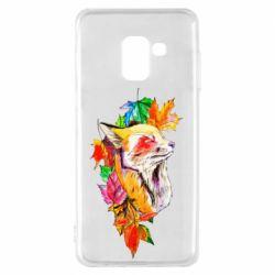 Чехол для Samsung A8 2018 Fox in autumn leaves
