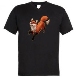 Мужская футболка  с V-образным вырезом Fox in flight