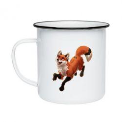 Кружка эмалированная Fox in flight