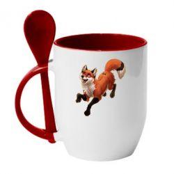 Кружка с керамической ложкой Fox in flight