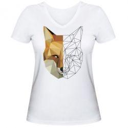 Женская футболка с V-образным вырезом Fox Two Faces