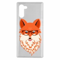 Чехол для Samsung Note 10 Fox with a mole in the form of a heart