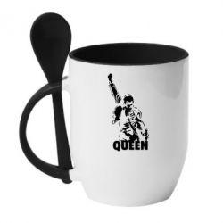 Кружка с керамической ложкой Freddie Mercury