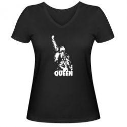 Женская футболка с V-образным вырезом Freddie Mercury