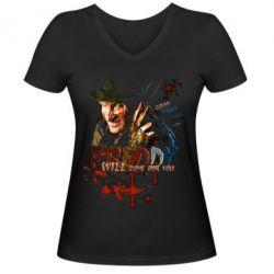 Купить Женская футболка с V-образным вырезом Freddy says Good night, FatLine