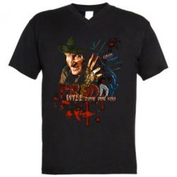 Мужская футболка  с V-образным вырезом Freddy says Good night
