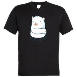 Чоловіча футболка з V-подібним вирізом Free hugs bear