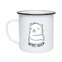 Кружка емальована Free hugs bear