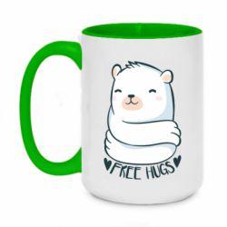 Кружка двоколірна 420ml Free hugs bear