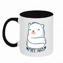 Кружка двоколірна 320ml Free hugs bear