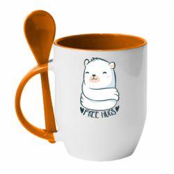 Кружка з керамічною ложкою Free hugs bear