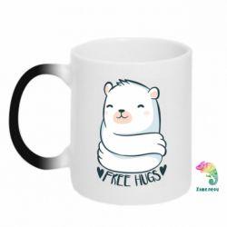 Кружка-хамелеон Free hugs bear