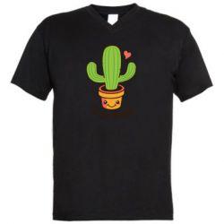 Чоловіча футболка з V-подібним вирізом Free Hugs Cactus