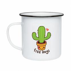 Кружка емальована Free Hugs Cactus