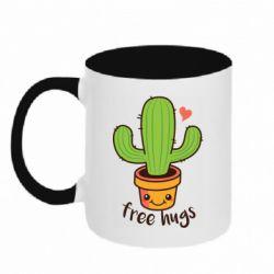 Кружка двухцветная 320ml Free Hugs Cactus
