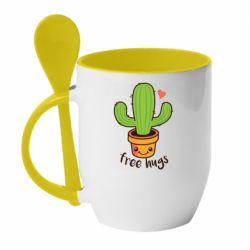 Кружка с керамической ложкой Free Hugs Cactus