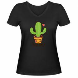 Жіноча футболка з V-подібним вирізом Free Hugs Cactus