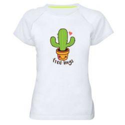 Женская спортивная футболка Free Hugs Cactus