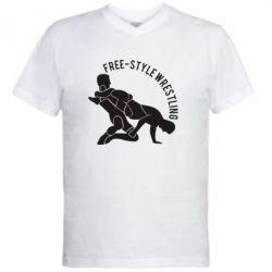 Мужская футболка  с V-образным вырезом Free-style wrestling