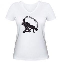 Женская футболка с V-образным вырезом Free-style wrestling - FatLine