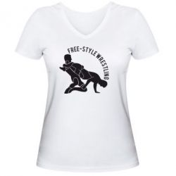 Женская футболка с V-образным вырезом Free-style wrestling