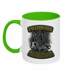 Кружка двухцветная 320ml Freedom paid  by those who paid the ultimate  sacrifice