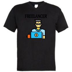 Мужская футболка  с V-образным вырезом Freelancer text