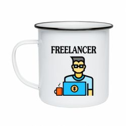 Кружка эмалированная Freelancer text