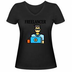 Женская футболка с V-образным вырезом Freelancer text