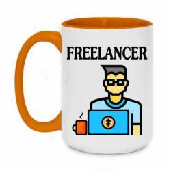 Кружка двухцветная 420ml Freelancer text