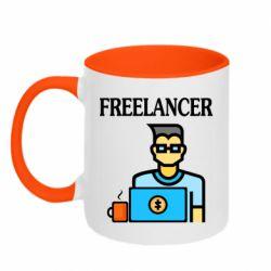 Кружка двухцветная 320ml Freelancer text