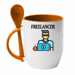 Кружка с керамической ложкой Freelancer text