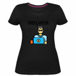 Женская стрейчевая футболка Freelancer text