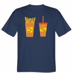 Мужская футболка French fries and cocktail flat vector
