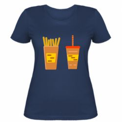 Женская футболка French fries and cocktail flat vector