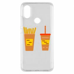 Чехол для Xiaomi Mi A2 French fries and cocktail flat vector