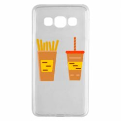 Чехол для Samsung A3 2015 French fries and cocktail flat vector