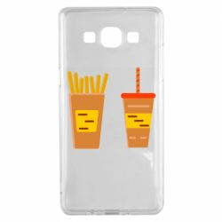 Чехол для Samsung A5 2015 French fries and cocktail flat vector