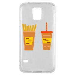 Чехол для Samsung S5 French fries and cocktail flat vector