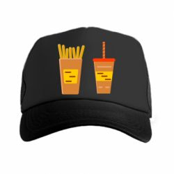 Кепка-тракер French fries and cocktail flat vector