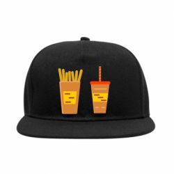Снепбек French fries and cocktail flat vector