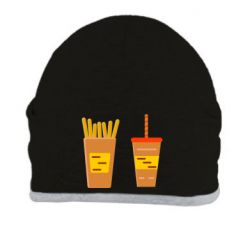 Шапка French fries and cocktail flat vector