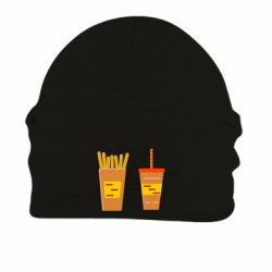 Шапка на флисе French fries and cocktail flat vector