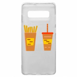 Чехол для Samsung S10+ French fries and cocktail flat vector
