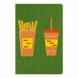 Блокнот А5 French fries and cocktail flat vector