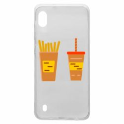 Чехол для Samsung A10 French fries and cocktail flat vector
