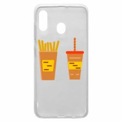 Чехол для Samsung A20 French fries and cocktail flat vector