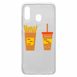 Чехол для Samsung A30 French fries and cocktail flat vector