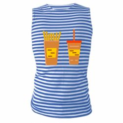 Майка-тельняшка French fries and cocktail flat vector